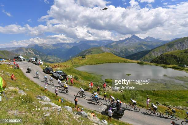 Geraint Thomas of Great Britain and Team Sky Yellow Leader Jersey / Col De La Croix De Fer / Landscape / Mountains / Lake / Peloton / during the...