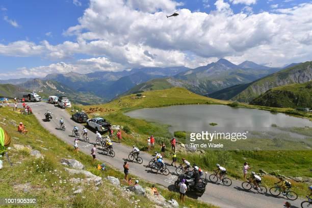 Geraint Thomas of Great Britain and Team Sky Yellow Leader Jersey / Col De La Croix De Fer / Landscape / Mountains / Lake / Peloton / during the...