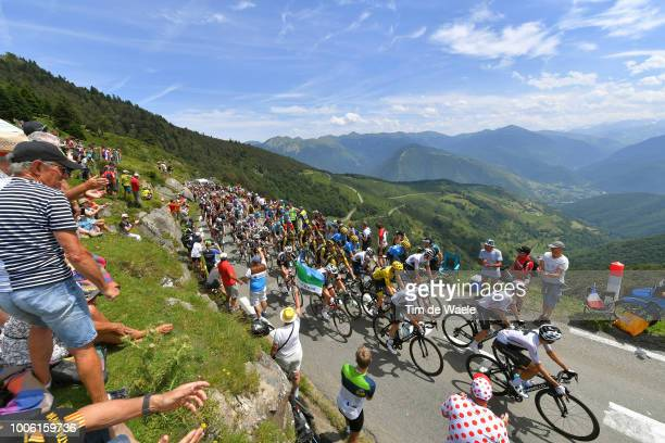 Geraint Thomas of Great Britain and Team Sky Yellow Leader Jersey / Col D'aspin / Peloton / Landscape / Fans / Public / Mountains / during the 105th...