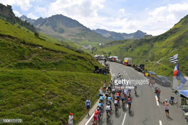 Geraint Thomas of Great Britain and Team Sky Yellow Leader Jersey / Col Du Tourmalet / Peloton / Landscape / Fans / Public / Mountains / during the...