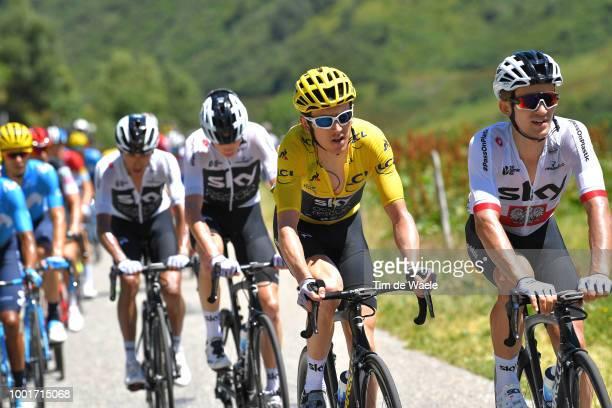 Geraint Thomas of Great Britain and Team Sky Yellow Leader Jersey / Michal Kwiatkowski of Poland and Team Sky / Christopher Froome of Great Britain...