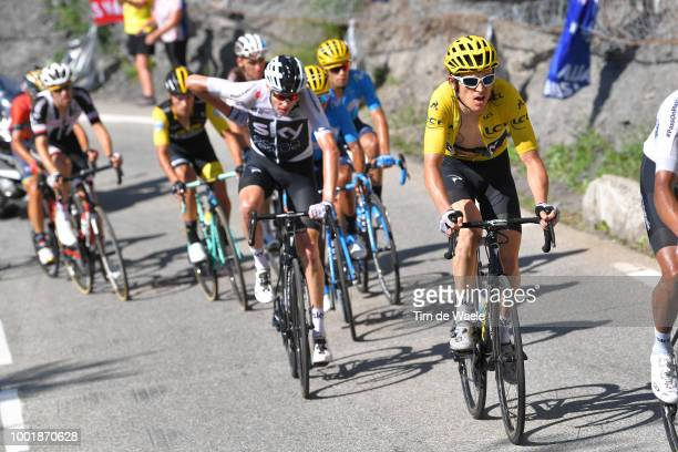 Geraint Thomas of Great Britain and Team Sky Yellow Leader Jersey / Christopher Froome of Great Britain and Team Sky / during the 105th Tour de...