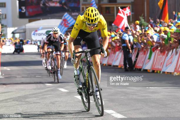 Geraint Thomas of Great Britain and Team Sky Yellow Leader Jersey / Alpe d'Huez / during the 105th Tour de France 2018 Stage 12 a 1755km stage from...