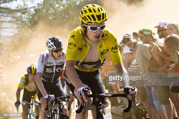 Geraint Thomas of Great Britain and Team Sky Yellow Leader Jersey / Christopher Froome of Great Britain and Team Sky / Dust / Fans / Public / during...