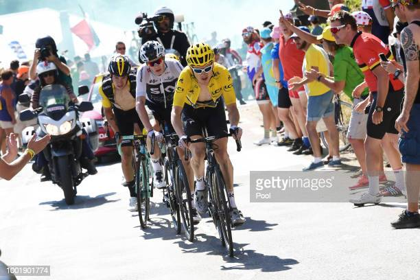 Geraint Thomas of Great Britain and Team Sky Yellow Leader Jersey / Christopher Froome of Great Britain and Team Sky / Primoz Roglic of Slovenia and...
