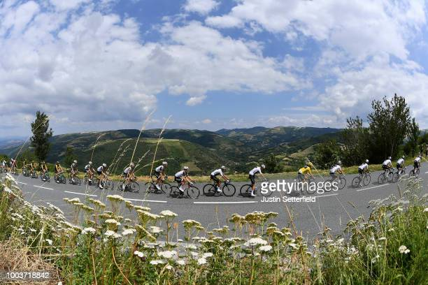 Geraint Thomas of Great Britain and Team Sky Yellow Leader Jersey / Christopher Froome of Great Britain and Team Sky / Egan Arley Bernal of Colombia...