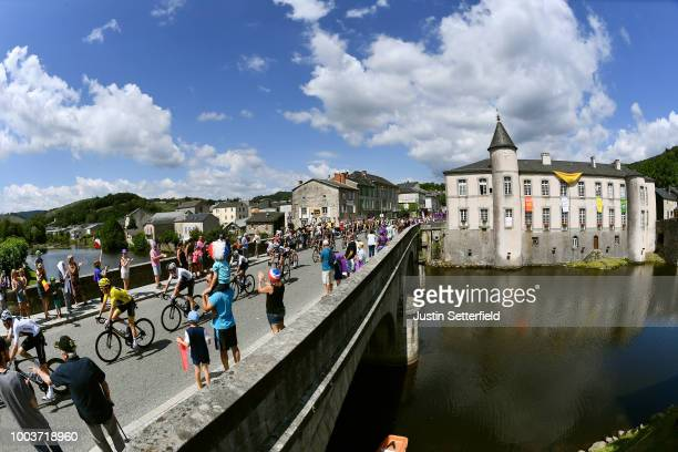 Geraint Thomas of Great Britain and Team Sky Yellow Leader Jersey / Christopher Froome of Great Britain and Team Sky / Bridge / Public / Fans /...