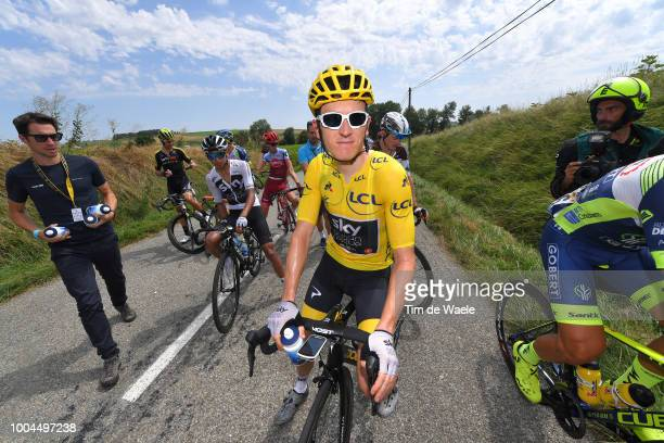 Geraint Thomas of Great Britain and Team Sky Yellow Leader Jersey / peloton stopped due to manifestation and launched tear gas / during the 105th...