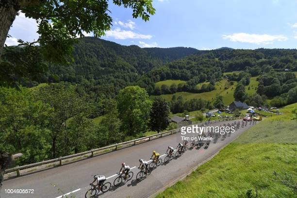Geraint Thomas of Great Britain and Team Sky Yellow Leader Jersey / Christopher Froome of Great Britain and Team Sky / Col De Menté / Peloton /...
