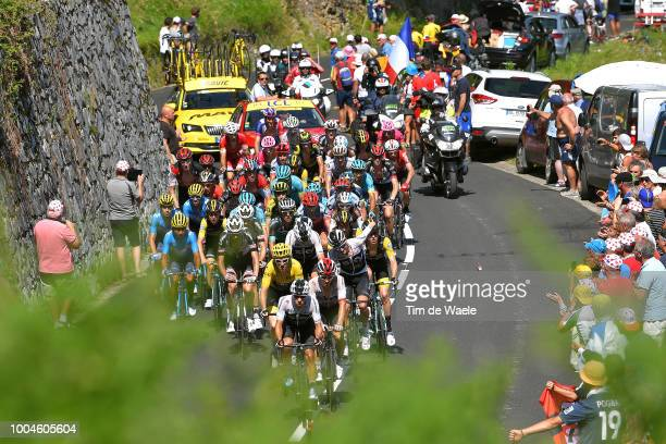 Geraint Thomas of Great Britain and Team Sky Yellow Leader Jersey / Peloton / Landscape / Fans / Public / during the 105th Tour de France 2018, Stage...