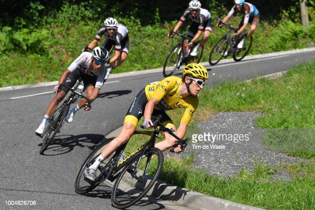 Geraint Thomas of Great Britain and Team Sky Yellow Leader Jersey / Egan Arley Bernal of Colombia and Team Sky / during the 105th Tour de France...