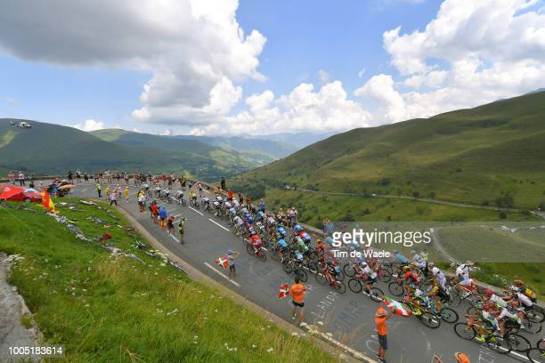 Geraint Thomas of Great Britain and Team Sky Yellow Leader Jersey / Christopher Froome of Great Britain and Team Sky / Luke Rowe of Great Britain and...