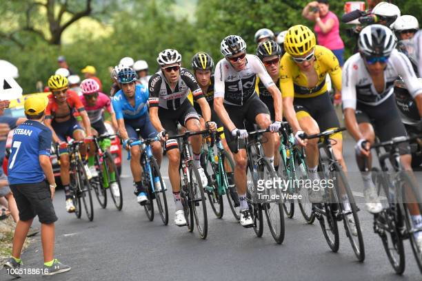 Geraint Thomas of Great Britain and Team Sky Yellow Leader Jersey / Christopher Froome of Great Britain and Team Sky / Tom Dumoulin of The...