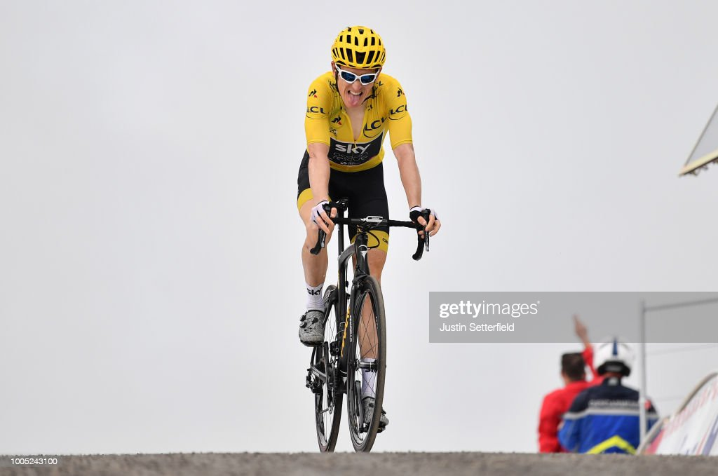 Geraint Thomas of Great Britain and Team Sky Yellow Leader Jersey / during the 105th Tour de France 2018, Stage 17, a 67km stage from Bagneres-de-Luchon to Saint-Lary-Soulan - Col du Portet 2215m / TDF / on July 25, 2018 in Saint-Lary-Soulan - Col du Portet, France.