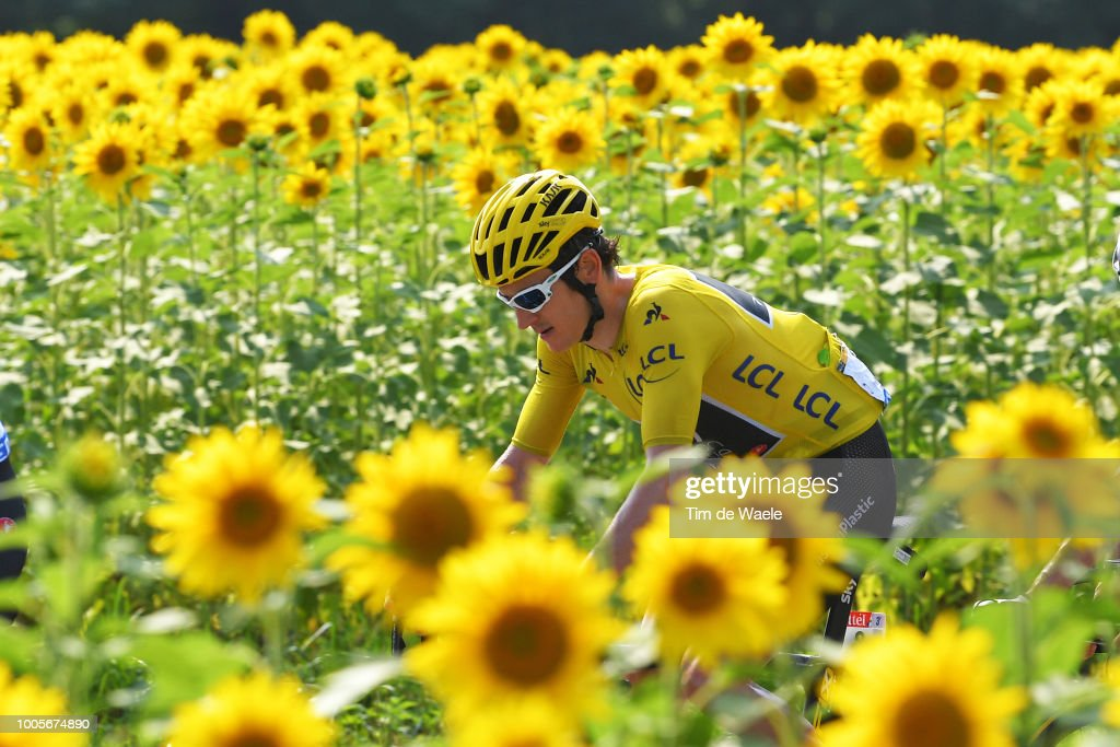 Geraint Thomas of Great Britain and Team Sky Yellow Leader Jersey / Sunflowers / during the 105th Tour de France 2018, Stage 18 a 171km stage from Trie-sur-Baise to Pau on July 26, 2018 in Pau, France.