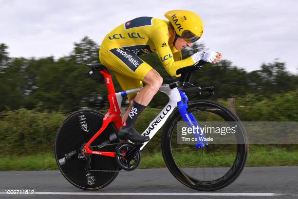 Geraint Thomas of Great Britain and Team Sky Yellow Leader Jersey / during the 105th Tour de France 2018, Stage 20 a 31km Individual Time Trial stage...