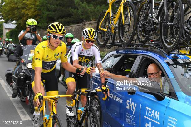 Geraint Thomas of Great Britain and Team Sky Yellow Leader Jersey / Christopher Froome of Great Britain and Team Sky / Dave Brailsford of Great...