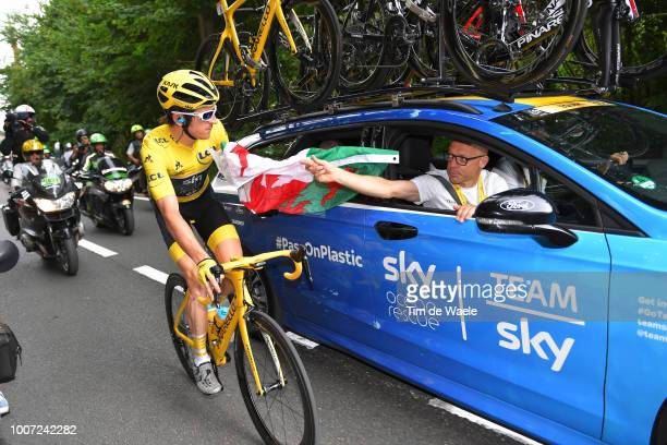 Geraint Thomas of Great Britain and Team Sky Yellow Leader Jersey / Dave Brailsford of Great Britain Team Manager of Team Sky / Celebration / Wales...
