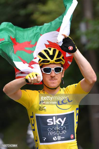 Geraint Thomas of Great Britain and Team Sky Yellow Leader Jersey / Celebration / Wales flag / during the 105th Tour de France 2018, Stage 21 a 116km...