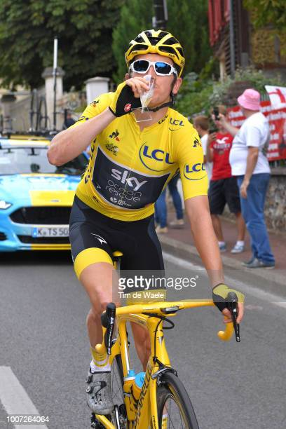 Geraint Thomas of Great Britain and Team Sky Yellow Leader Jersey / Celebration / Champagne / during the 105th Tour de France 2018, Stage 21 a 116km...