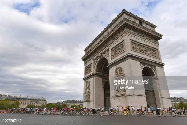 Geraint Thomas of Great Britain and Team Sky Yellow Leader Jersey / Paris City / Arc De Triomphe / Peloton / Landscape / during the 105th Tour de...
