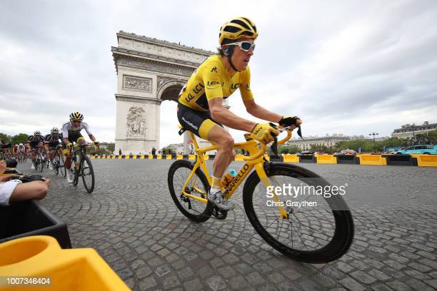 Geraint Thomas of Great Britain and Team Sky Yellow Leader Jersey / Paris City / Arc De Triomphe / Peloton / Landscape / during the 105th Tour de...