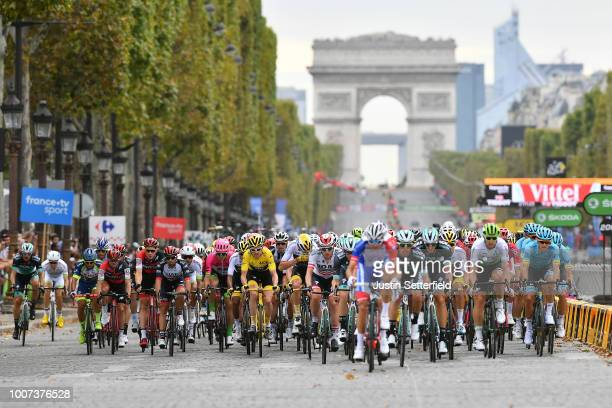 Geraint Thomas of Great Britain and Team Sky Yellow Leader Jersey / Christopher Froome of Great Britain and Team Sky / Thomas Scully of Australia and...