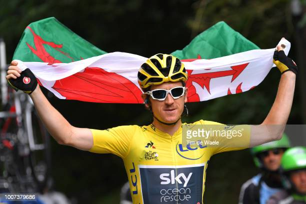 Geraint Thomas of Great Britain and Team Sky Yellow Leader Jersey / Celebration / Wales flag / during the 105th Tour de France 2018 Stage 21 a 116km...