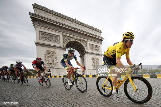 Geraint Thomas of Great Britain and Team Sky Yellow Leader Jersey / Yoann Offredo of France and Team Wanty Groupe Gobert / Arc De Triomphe / during...