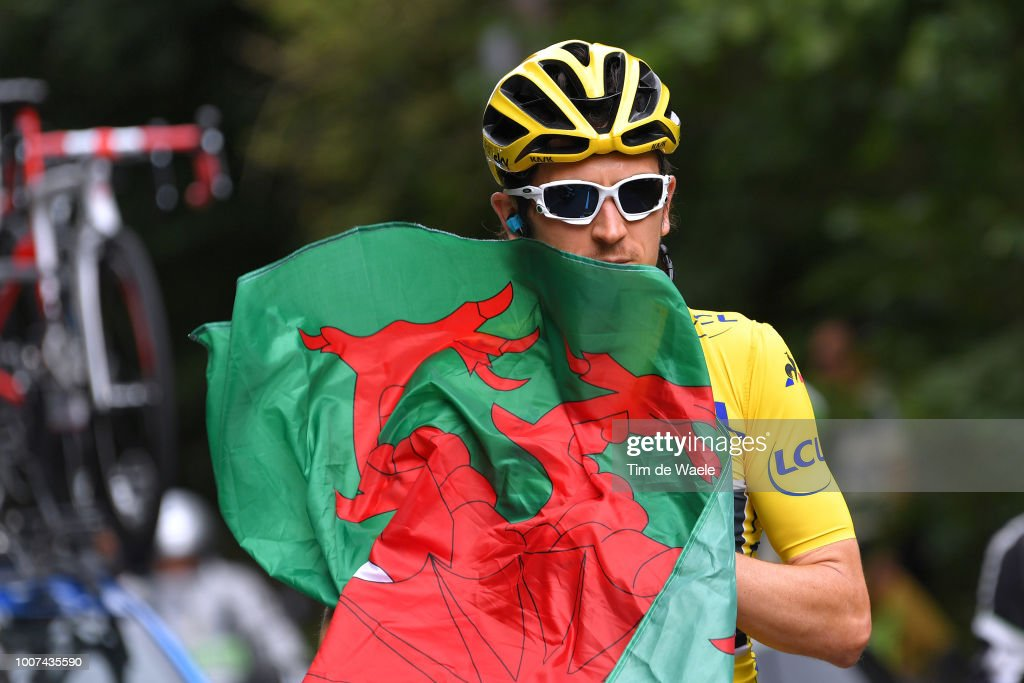 Geraint Thomas of Great Britain and Team Sky Yellow Leader Jersey / Wales flag / during the 105th Tour de France 2018, Stage 21 a 116km stage from Houilles to Paris Champs-Elysees / TDF / on July 29, 2018 in Paris, France.