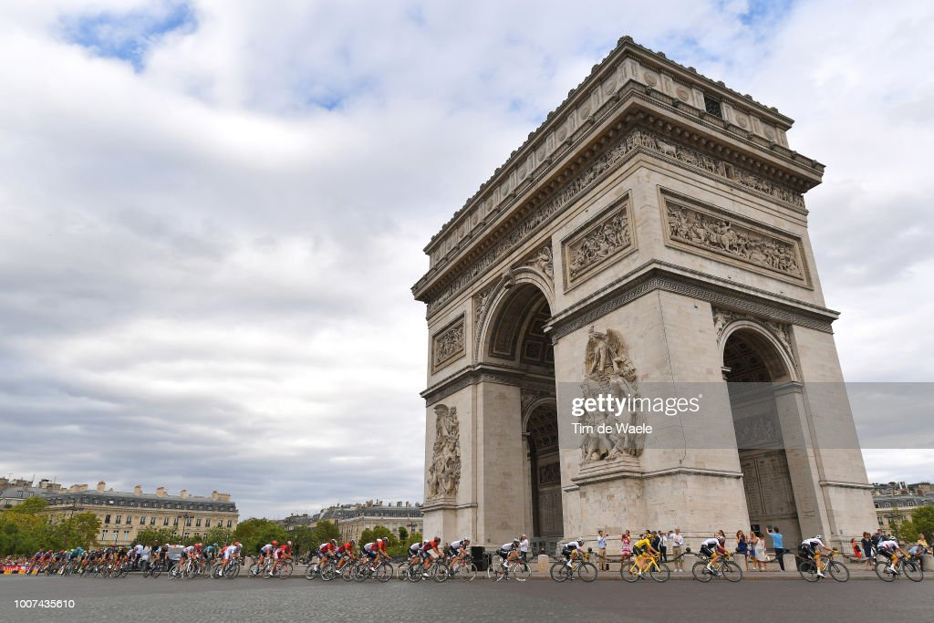 Geraint Thomas of Great Britain and Team Sky Yellow Leader Jersey / Paris City / Arc De Triomphe / Peloton / Landscape / during the 105th Tour de France 2018, Stage 21 a 116km stage from Houilles to Paris Champs-Elysees / TDF / on July 29, 2018 in Paris, France.