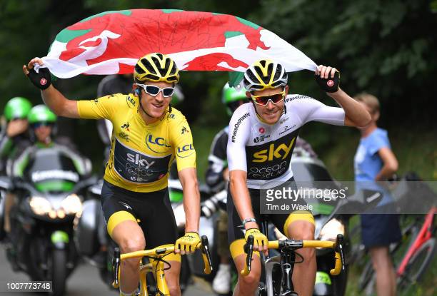 Geraint Thomas of Great Britain and Team Sky Yellow Leader Jersey / Luke Rowe of Great Britain and Team Sky / Celebration / Wales flag / during the...