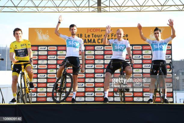 Geraint Thomas of Great Britain and Team Sky Yellow Leader Jersey / Wouter Poels Netherland and Team Sky / Ian Stannard Great Britain and Team Sky /...