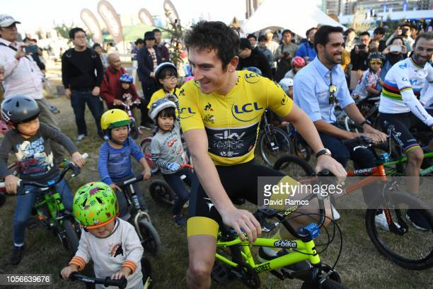 Geraint Thomas of Great Britain and Team Sky Yellow Leader Jersey / Fans / Public / Children / during the 6th Tour de France Saitama Criterium 2018...