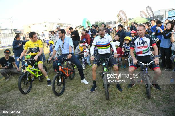 Geraint Thomas of Great Britain and Team Sky Yellow Leader Jersey Alberto Contador of Spain Ex Procyclist Alejandro Valverde of Spain and Movistar...
