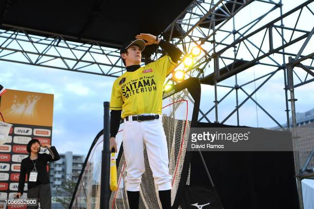 Geraint Thomas of Great Britain and Team Sky Yellow Leader Jersey developing his skills in baseball during the 6th Tour de France Saitama Criterium...