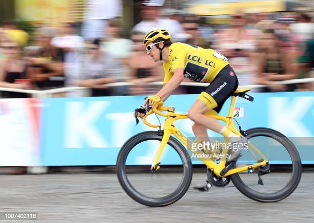 Geraint Thomas of Great Britain competes on the Champs-Elysees avenue before winning the Tour de France in Paris, France on July 29, 2018.