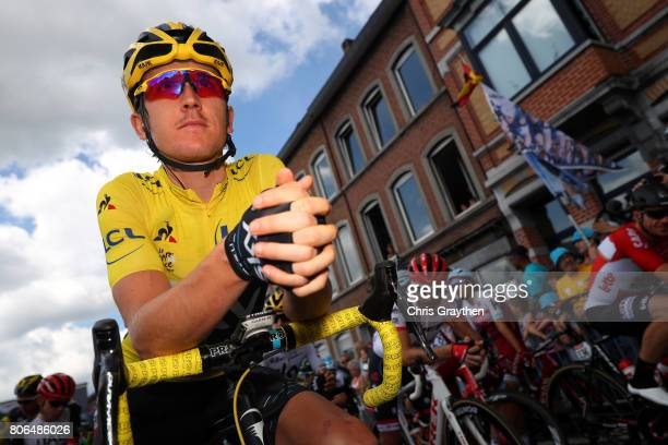 Geraint Thomas of Great Britain riding for Team Sky in the leader's jersey prepares to ride stage three of the 2017 Le Tour de France a 2125km stage...