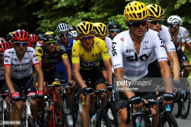 Geraint Thomas of Great Britain riding for Team Sky in the yellow leader's jersey rides in the peloton during stage three of the 2017 Le Tour de...