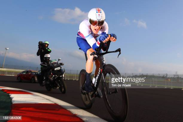 Geraint Thomas of Team Great Britain rides during the Men's Individual time trial on day five of the Tokyo 2020 Olympic Games at Fuji International...