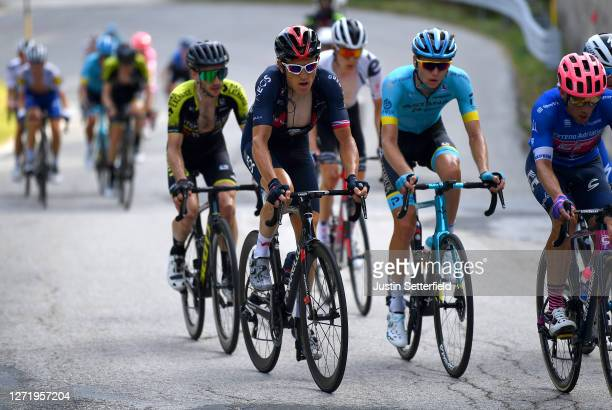 Geraint Thomas of The United Kingdom and Team INEOS Grenadiers / Michael Woods of Canada and Team EF Pro Cycling Blue Leader Jersey / Simon Yates of...