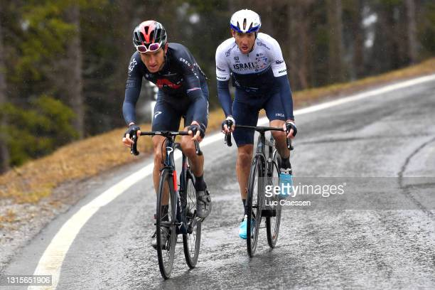 Geraint Thomas of The United Kingdom and Team INEOS Grenadiers & Michael Woods of Canada and Team Israel Start-Up Nation at Thyon during the 74th...