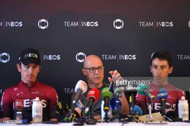 Geraint Thomas of United Kingdom and Team INEOS / Dave Brailsford of United Kingdom Team Manager of Team INEOS / Egan Bernal of Colombia and Team...