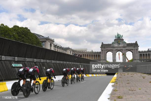 Geraint Thomas of United Kingdom and Team INEOS / Egan Bernal of Colombia and Team INEOS / Jonathan Castroviejo of Spain and Team INEOS / Michal...