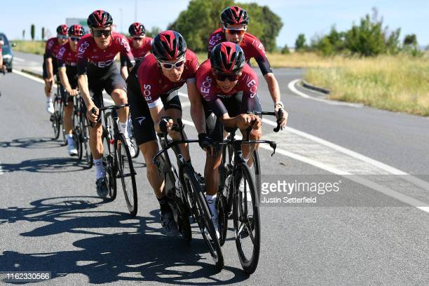 Geraint Thomas of United Kingdom and Team INEOS / Egan Bernal of Colombia and Team INEOS / Dylan van Baarle of The Netherlands and Team INEOS / Luke...