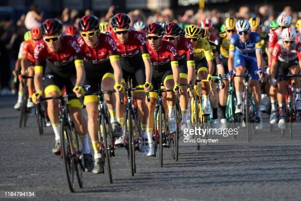 Geraint Thomas of United Kingdom and Team INEOS / Egan Bernal of Colombia and Team INEOS Yellow Leader Jersey / Jonathan Castroviejo of Spain and...