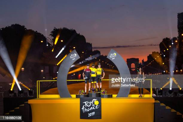 Geraint Thomas of United Kingdom and Team INEOS / Egan Bernal of Colombia and Team INEOS Yellow Leader Jersey and Steven Kruijswijk of The...