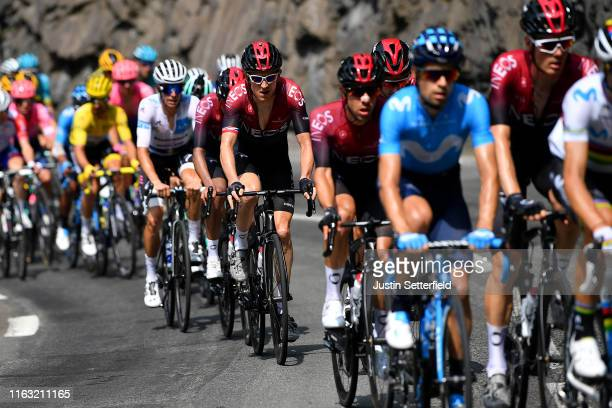 Geraint Thomas of United Kingdom and Team INEOS / Enric Mas of Spain and Team Deceuninck - Quick-Step White Best Young Jersey / during the 106th Tour...