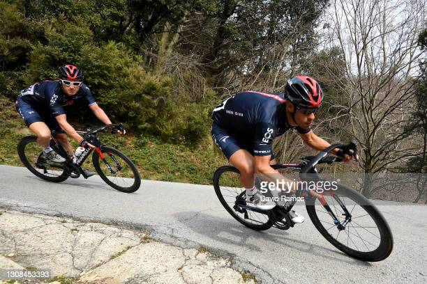 Geraint Thomas of United Kingdom and Team INEOS Grenadiers & Richie Porte of Australia and Team INEOS Grenadiers during the 100th Volta Ciclista a...