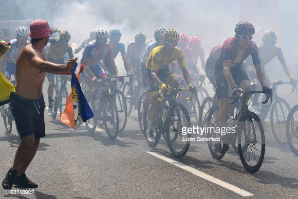 Geraint Thomas of United Kingdom and Team INEOS / Julian Alaphilippe of France and Team Deceuninck QuickStep Yellow Leader Jersey / Enric Mas of...